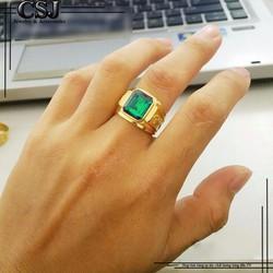 Nhẫn rồng vàng đá xanh