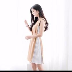 Đầm suông sát nách phối màu dập ly cột nơ