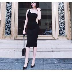 Đầm body 2 dây trắng đen