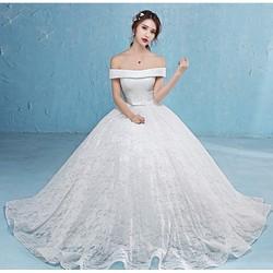 áo cưới xoè vai ngang nơ eo, cung cấp sỉ lẻ áo cưới toàn quốc