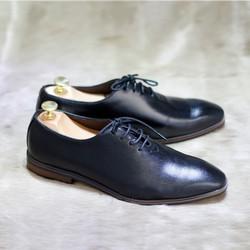 Giày da nam công sở da bò màu đen, sang trọng, mẫu mới hot 2017 G032P
