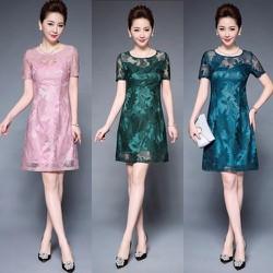 Đầm ren hoa nổi DR25 - Size S~5XL - hàng nhập
