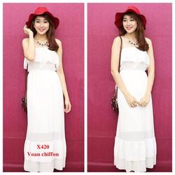 Đầm Maxi 2 Dây Nhún Bèo