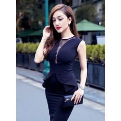 Đầm đen peplum dự tiệc thiết kế ôm body phối ren sang trọn