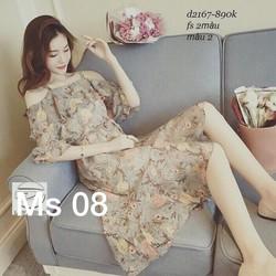Đầm voan xòe hoa bèo khoét vai xinh xắn - hàng nhập Quảng Châu