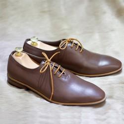 Giày da nam công sở da bò màu nâu, sang trọng, mẫu mới hot 2017 G031P