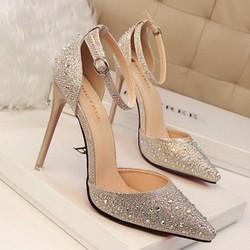 Giày cao gót đính đá 7 màu cực sang