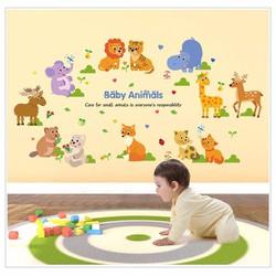 Decal dán tường vườn thú nhỏ 6 - Baby animals