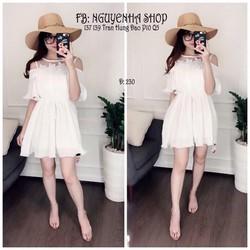 Đầm suông dập ly khoét vai viền ren cao cấp - hàng nhập Quảng Châu