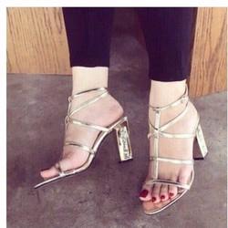 giày gót vuông xương cá cực sang