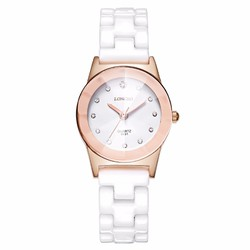Đồng hồ nữ dây đá Ceramic GE135 Trắng đồng
