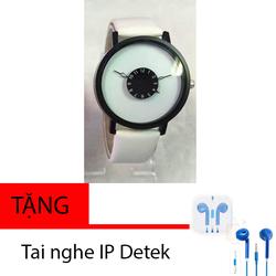 Đồng hồ nữ kim trắng đơn giản tặng kèm tai nghe
