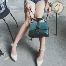 Túi xách nữ dây xich màu xanh rêu đẹp gắn khóa cài kim loại sang