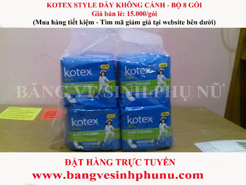 Băng vệ sinh Kotex Dày không cánh 8 miếng - Bộ 8 gói 1