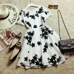 Đầm ren thêu hoa