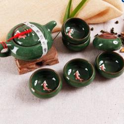 Bộ ấm chén uống trà in cá 3D tráng men