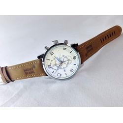 Đồng hồ nam  giá rẻ dây da nâu đẹp MB1689LW