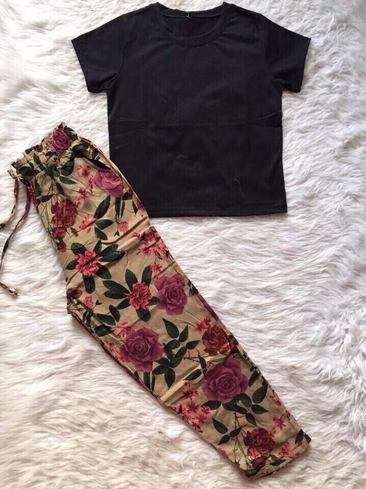 Sét áo con + quần hoa dât rút 1