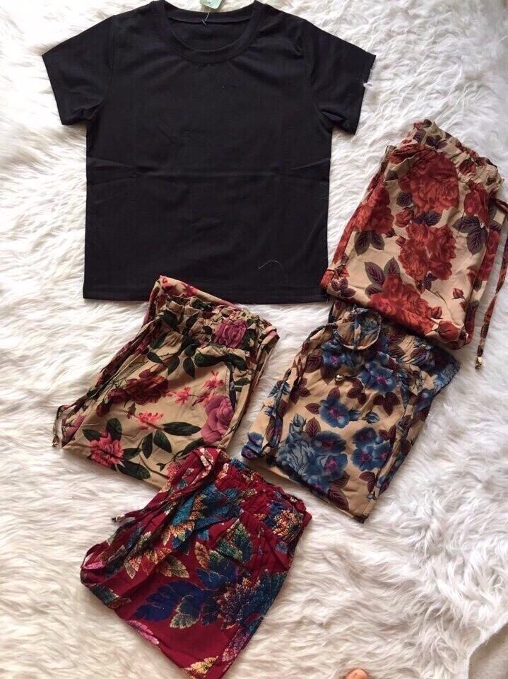 Sét áo con + quần hoa dât rút 4