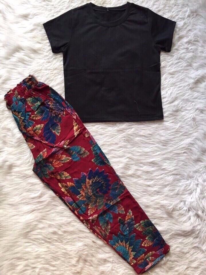 Sét áo con + quần hoa dât rút 2