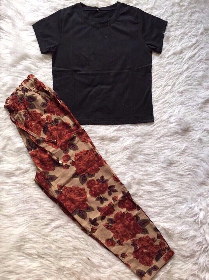 Sét áo con + quần hoa dât rút 6