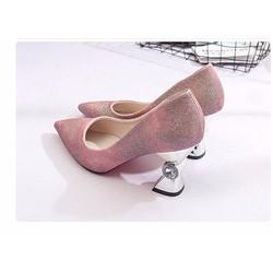 Giày cao gót nhũ hồng gót đính hột