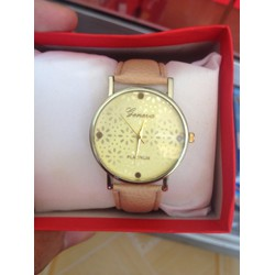Sale off Đồng hồ dây da nữ Geneva màu nude thời trang, giá rẻ Cần Thơ
