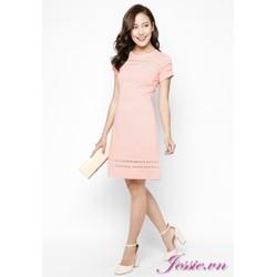 Đầm xòe thun gân hồng viền ribbon của nhãn hàng Jessie Boutique