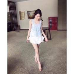Sét áo nút nơ sau và chân váy tầng