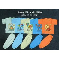 Set 5 bộ tay dài quần dài bo màu