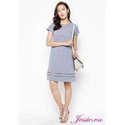 Đầm suông thun gân xám viền ribbon của nhãn hàng Jessie Boutique