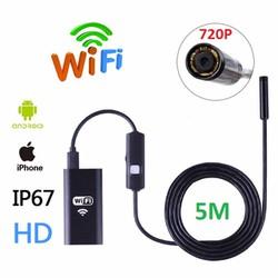 Camera nội soi Wifi chống nước độ nét cao HD720P cáp dài 5m