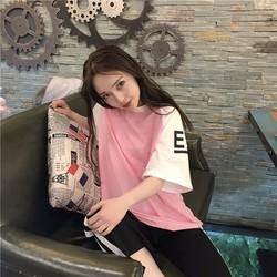 Áo thun nữ form rộng hồng trắng EE xinh đáng iu