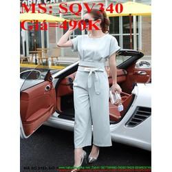 Sét áo kiểu dài tay khoét cổ thuyền phối quần ôm đẹp SQV339