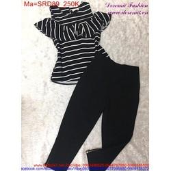 Sét áo kiểu sọc ngang phối với quần dài đáng iu SRD89