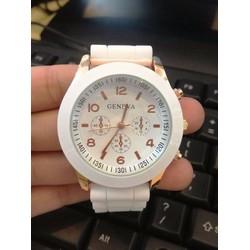 Sale off Đồng hồ dây nhựa dẻo nữ Geneva trắng cá tính, giá rẻ Cần Thơ