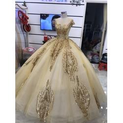 áo cưới đồng da nude kim tuyến lấp lánh sang trọng ngay trọng đại