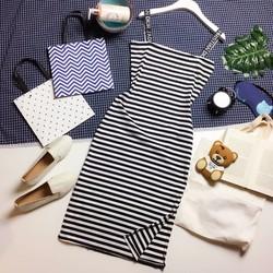 Đầm 2 dây đai thun chữ body cotton