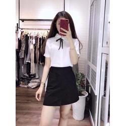 Sét áo sơ mi tay ngắn chân váy đơn giản