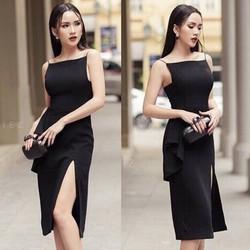 Đầm thiết kế - Đầm ôm body nách vuông hai dây xẻ đùi