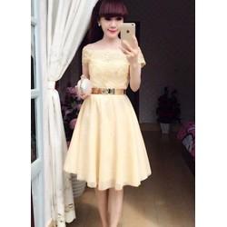 Đầm xoè bẹt vai viền ren - A25252