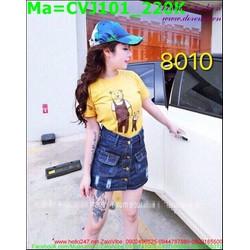 Chân váy jean rách xước nhẹ trẻ trung CVJ101