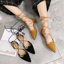 Giày búp bê hở giữa cột dây