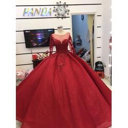 áo cưới đỏ tùng cứng ko cần mặc gọng áo