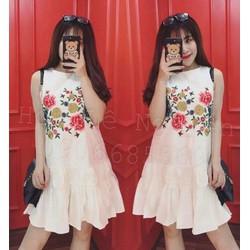 Đầm suông thêu hoa bèo lai