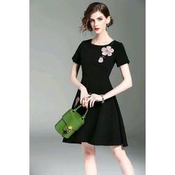 Đầm xoè thun đính hoa thêu đơn giản siêu hot