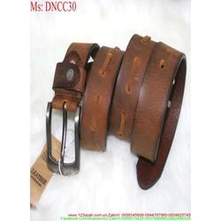 Thắt lưng nam da bò mặt xỏ kim sành điệu sang trọng DNCC30