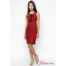 Đầm ren đỏ, nơ cổ của nhãn hàng Jessie Boutique