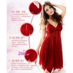 Váy Ngủ Siêu Mỏng Ren Xẻ Tà Cao Cấp MS735