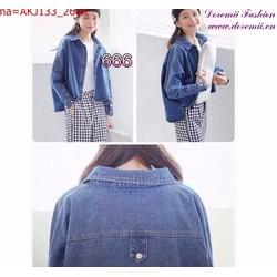 Áo khoác jean nữ tay dài thiết kế đơn giản trẻ trung